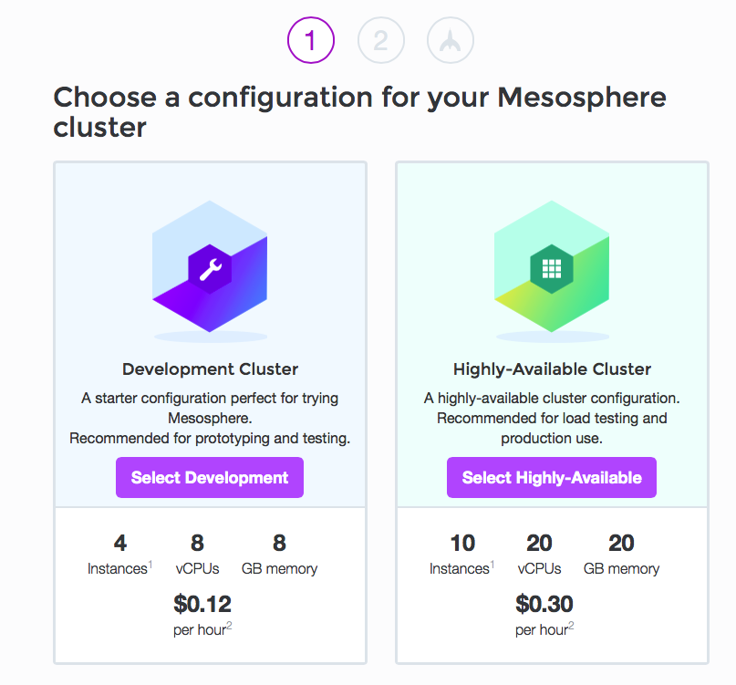 Mesosphere launch page
