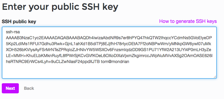 The ssh key form